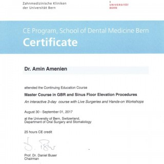 1 Dr Amin Amenien Master course in Sinus floor elevation and GBR university of Berne
